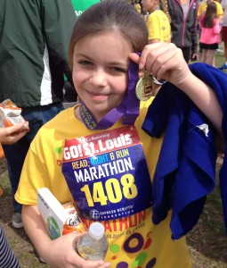 Along with a throng of other elementary schoolers, this beautiful strong little lady read 26 books, ran 26 miles, and did 26 good deeds for Go! St Louis' Read Right Run.